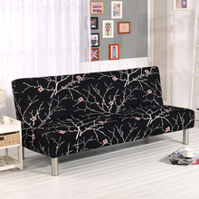 Folding Sofa Covers Elastic Armless Furniture Cover Bed For Living Room Nines Black V20