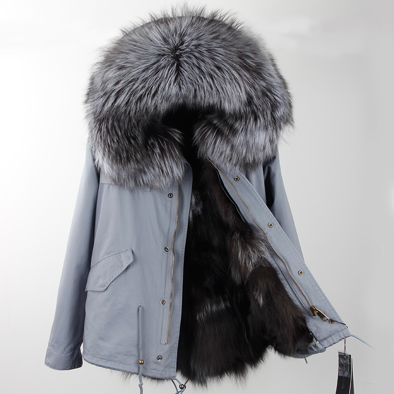 2017New Fashion Winter jacket women outwear thick parkas natural raccoon collar real fur hooded real warm fox fur liner hot sale