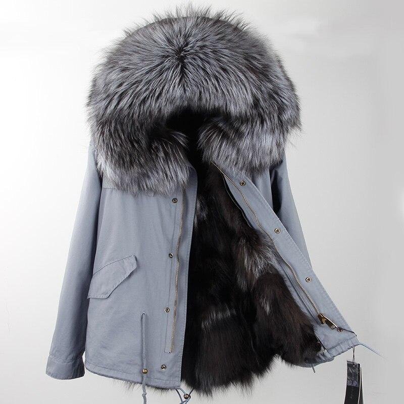 2017New rivestimento di Inverno di Modo delle donne outwear parka di spessore naturale procione collare reale della pelliccia con cappuccio reale caldo pelliccia di volpe fodera calda vendita