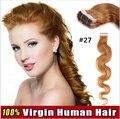 FITA ONDULADA DO CABELO de 20 polegadas 20 pcs/50 gram Nenhum traço de 100% Real Extensões de Cabelo humano Fita em PU Pele tramas do cabelo Grande onda extensão