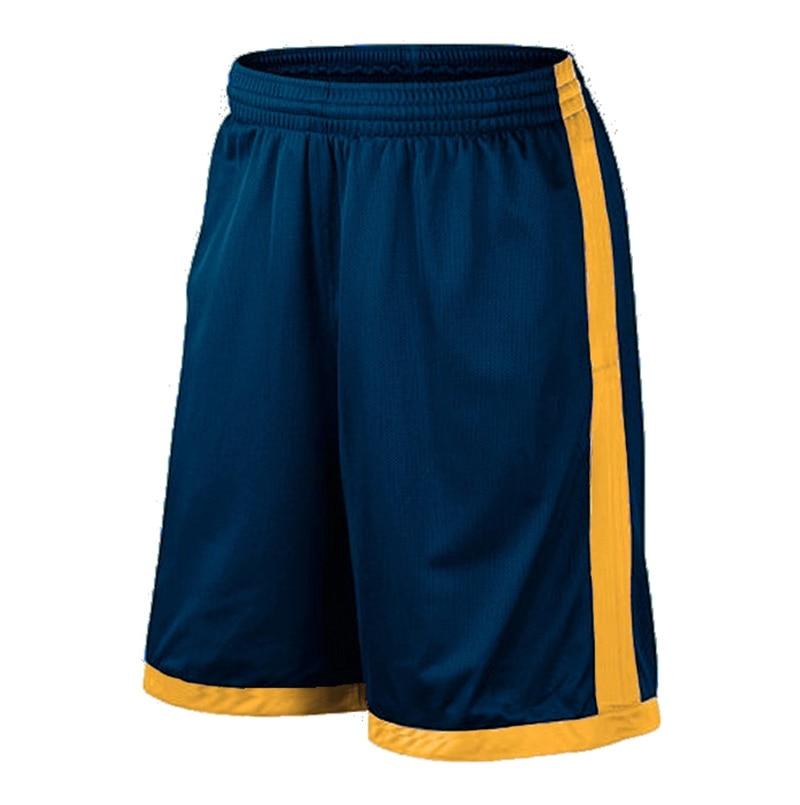 Баскетбольные шорты размера плюс, мужские спортивные шорты, мужские быстросохнущие баскетбольные шорты с карманами, баскетбольная майка высокого качества - Цвет: Navy Yellow