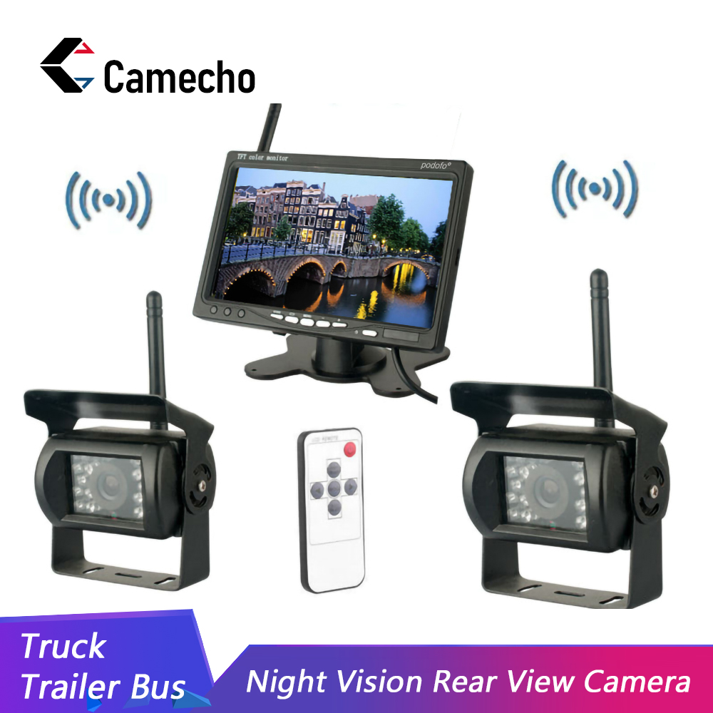 Camecho Built-in Wireless Dual IR Night Vision Waterproof Rear View Back Up Cameras System + 7