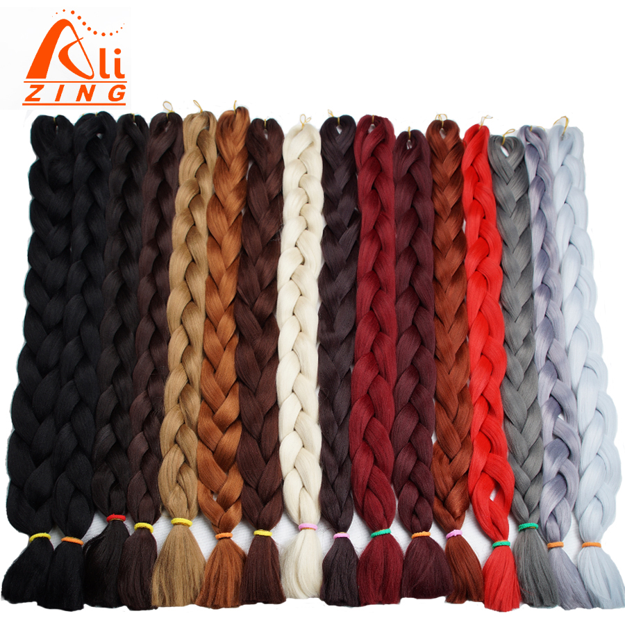 Alizing 82Inch Synthetic Jumbo Braiding Hair 165g/Pack Kanekalon Black Blonde Gray Blue Crochet False Hair Extensions