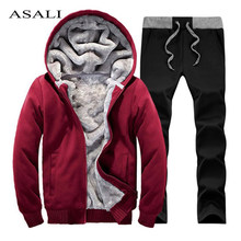 8e227414fd92 winter men sweat suits fleece warm mens tracksuit set casual Sportwear  suits jacket + pants and