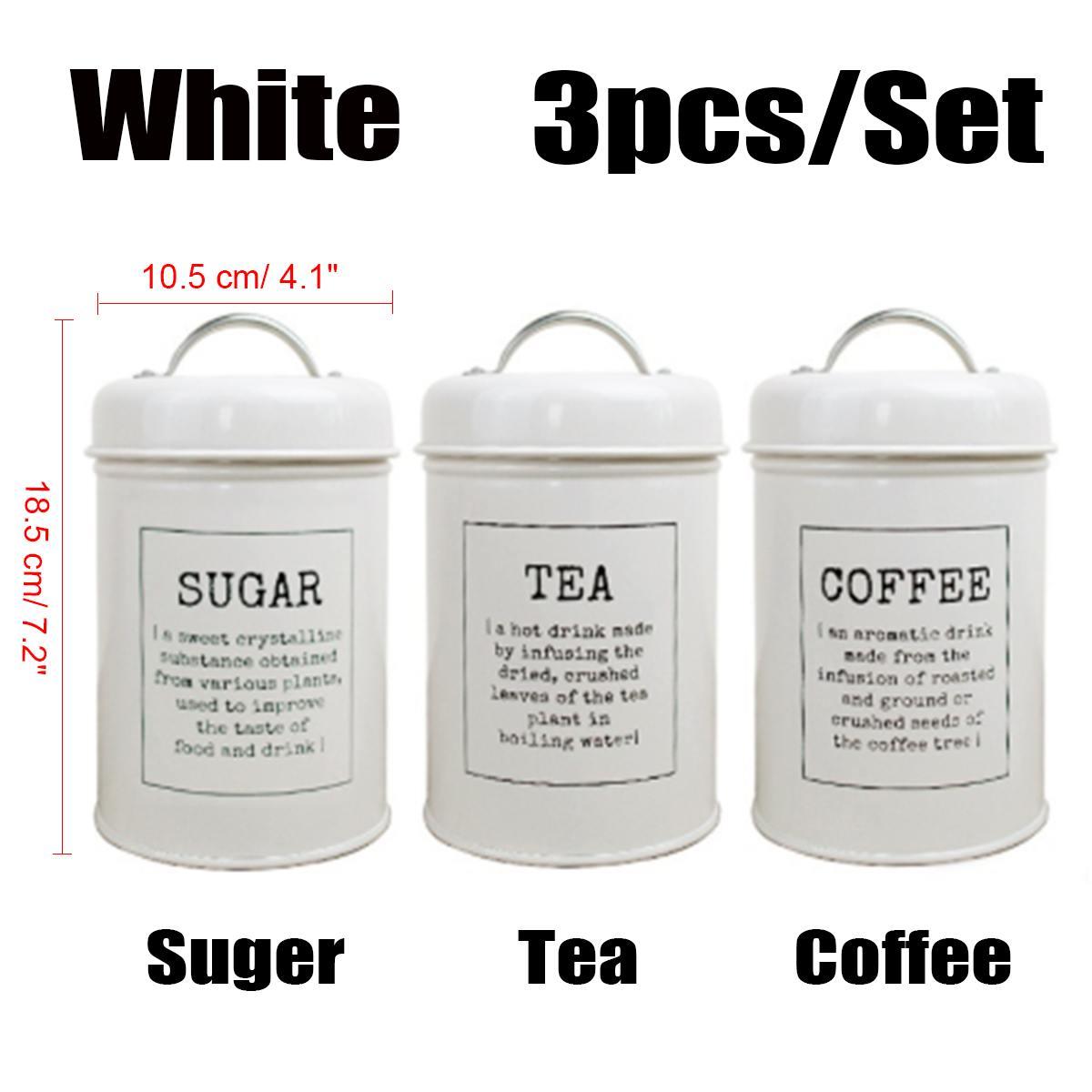 Image 5 - 3Pcs/Set Storage Tank Cover Steel Kitchen Utensils Multifunction  Sugar Tea Coffee Box Case Household Food Canister Snack TankStorage  Bottles