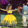 Pretty Gold Flower Girl Dresses for Weddings 2016 Lace Girls Pageant Dress Appliques Ball Gowns Bow Kids Prom Dresses SA509