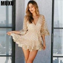 MUXU summer sexy transparent women dress elegant polka dot backless vestidos jurken kleider sundress fashion sukienka 2018
