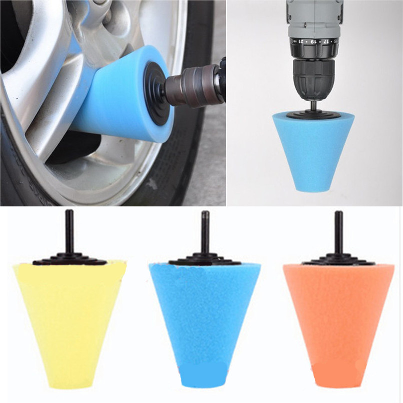 1x Sponge Cone Metal Polishing Foam Pad Wool Buffing: Tire Wheel Cleaner Polish Buffing Shank Sponge Cone Metal