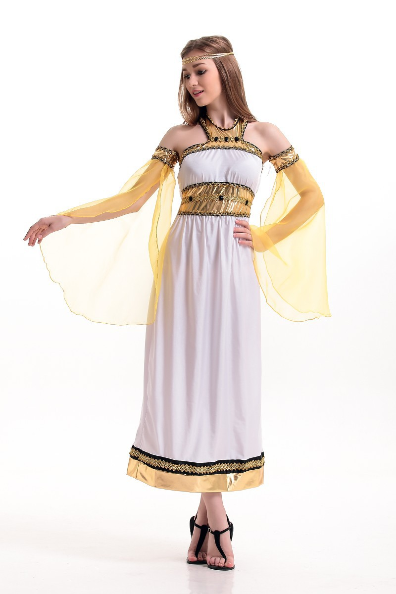 halloween cleopatra ancient egypt queen costume white dress oversleeve adult female greek godde. Black Bedroom Furniture Sets. Home Design Ideas