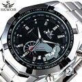 Sewor esqueleto projeto do esporte marca de luxo relógios homens de aço inoxidável relógio mecânico automático masculino relógio relogio masculino