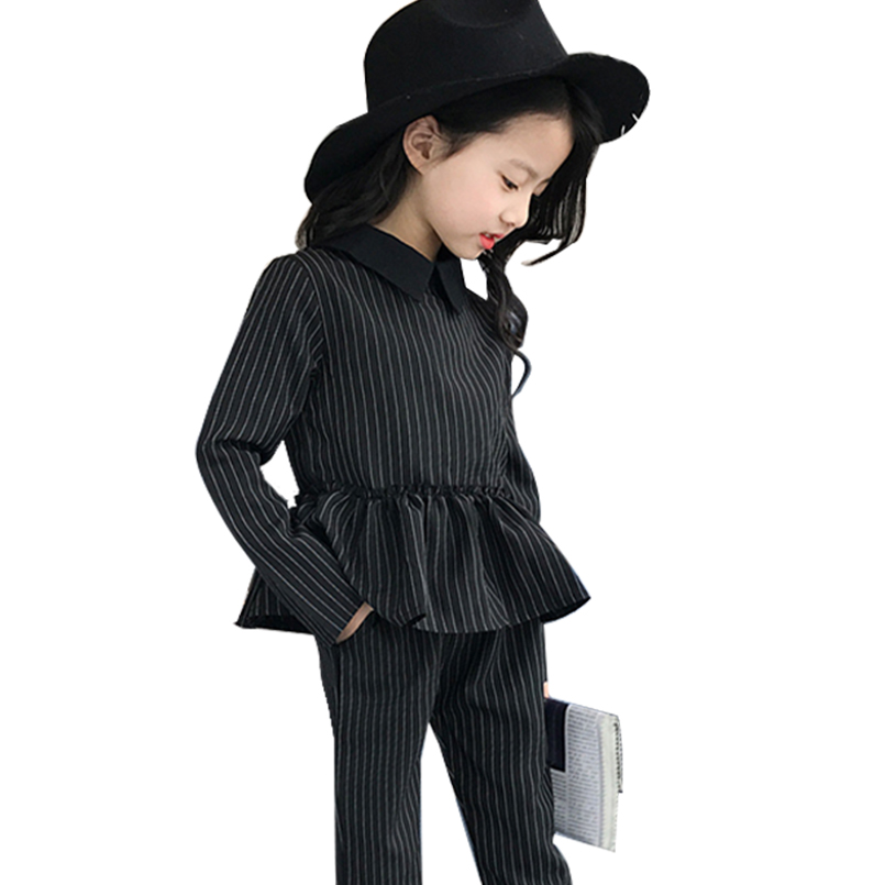 School Girls Clothing Sets Striped Kids Outfits Cotton Children Blouses & Pants Girls Formal Suits 2 4 6 8 10 12 Years Costumes
