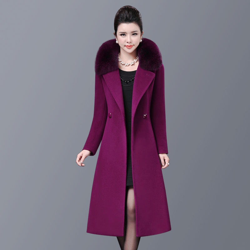 High Quality Free Shipping 2017 New Winter Wool Coat Long Fox Fur Cashmere Fashion Mid Old