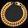 Rock Bracelet Heavy Cool Men's Jewelry American Style 13MM 22CM Gold Plated / Stainless Steel Bracelet Hip Hop GH1150