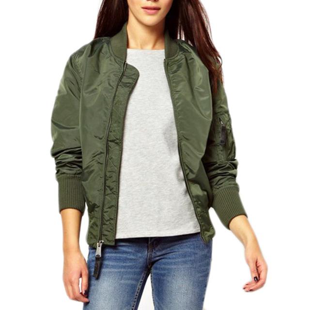 Verde Do Exército das mulheres jaqueta bomber Jaqueta Biker Moda básica Feminina de Manga Comprida Fina coats Mulheres Panos chaquetas mujer