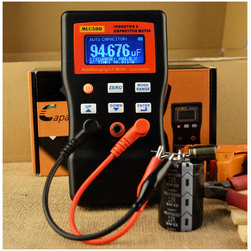 Di alta Precisione Auto Range Ponte LC Meter Professionale di Capacità di Induttanza Tavolo 500 KHz Misuratore di Capacità di Oscillatio 100 H/mF
