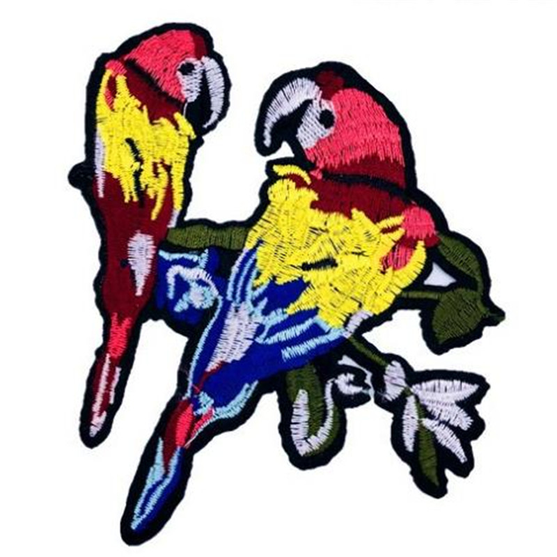 Clothing diy embroidery lovers patch deal with it 11cm parrot biker patches for clothes flower stickers fabric free shipping