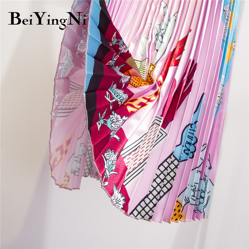 Beiyingni Letter Printed Skirt Women Summer Fashion A line Chic Casual Europe Retro Pleated Skirts Lady 2019 Elastic Waist Saias in Skirts from Women 39 s Clothing