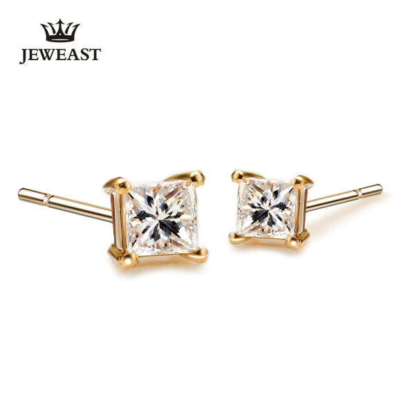 Jeweast 18k Pure Gold 750solid Natural Diamonds Stud Earrings Clic And Elegant Affordable Price Le Diamond In From Jewelry