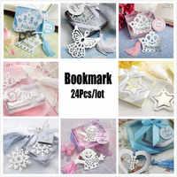24 unids/lote suministros para fiestas de eventos marcador de libro lindo para bebés adultos cumpleaños Navidad boda fiesta Favor caja de regalo FG302