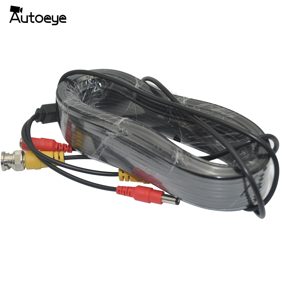 Autoeye BNC Video DC Power Siamese Cable 60ft 18.3m For Analog AHD CVI CCTV Surveillance Camera DVR Kit
