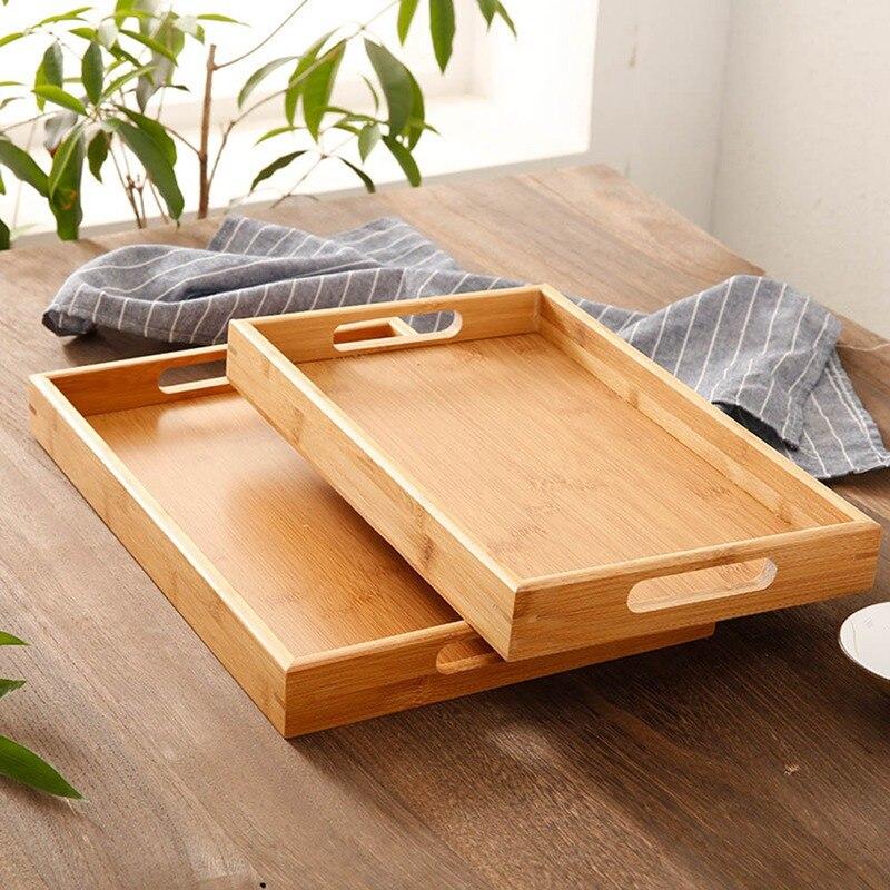 органайзеры для кухни поднос Прямоугольный деревянный поднос для сервировки чайных столовых приборов поддон для хранения фруктов тарелка украшение еды бамбук-0