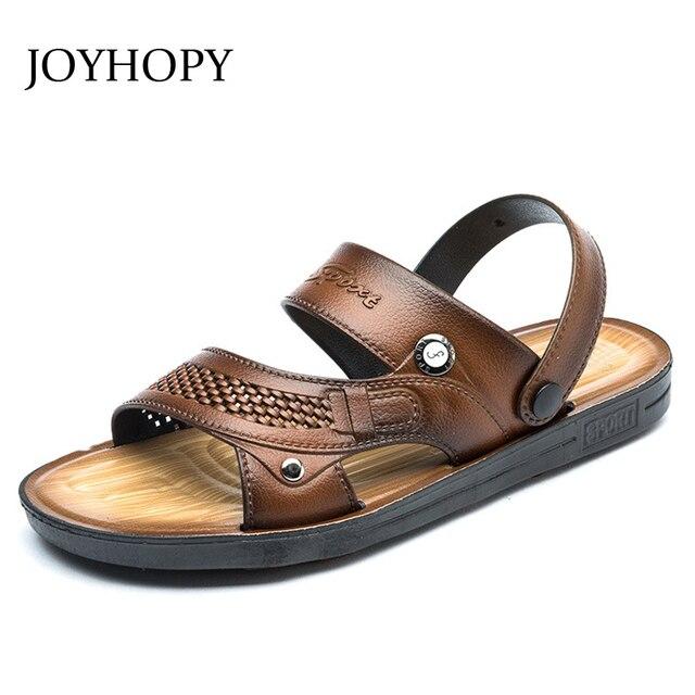 aab89ed7f3e Para hombre sandalias 2018 verano al aire libre playa hombres PU cuero  Zapatillas moda transpirable zapatos