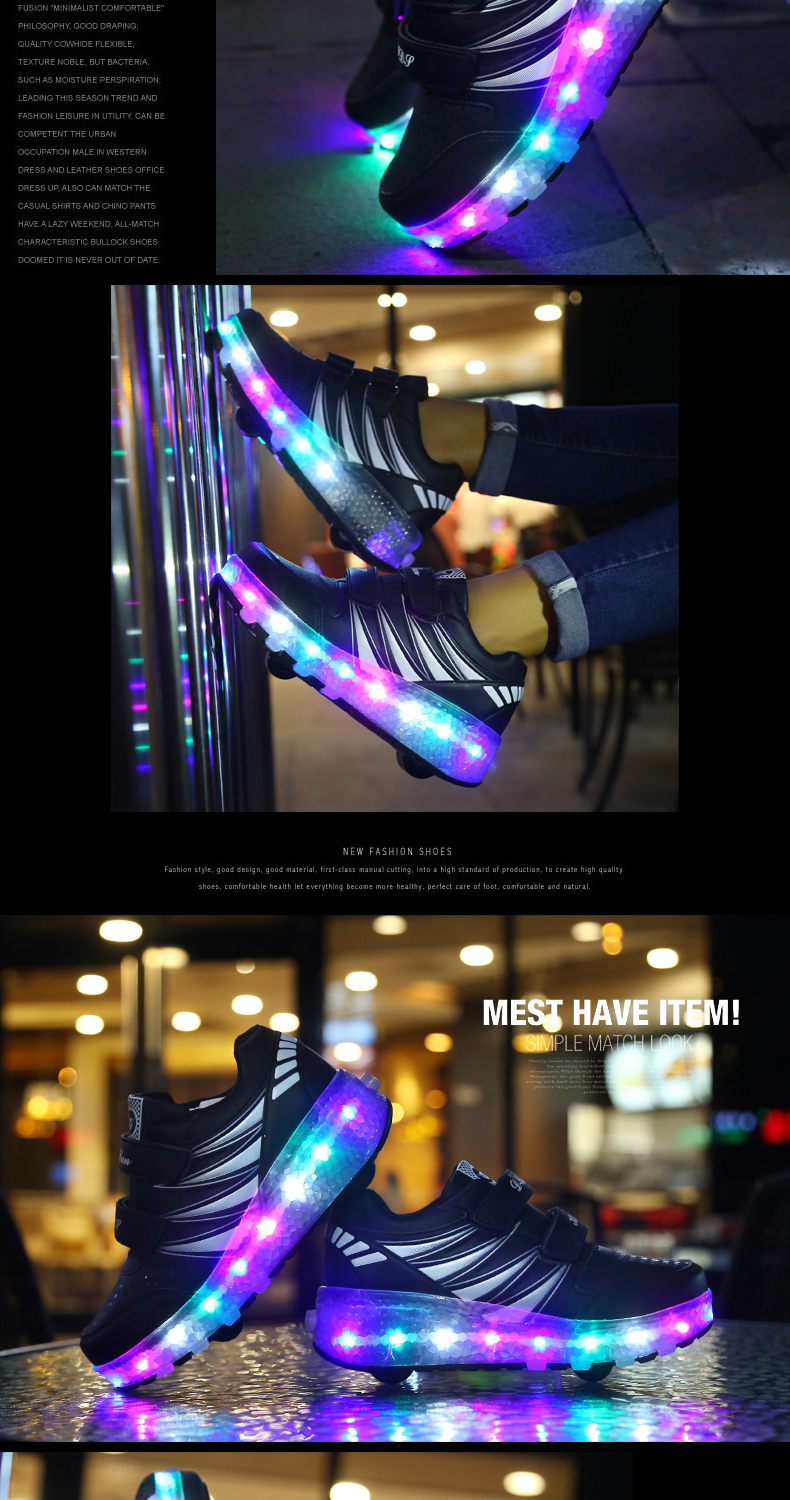 2017 Child Girls Boys Roller Skate Shoes LED Light Black Pink Children Glowing Sneakers With Wheels For Kids tenis de rodinha4