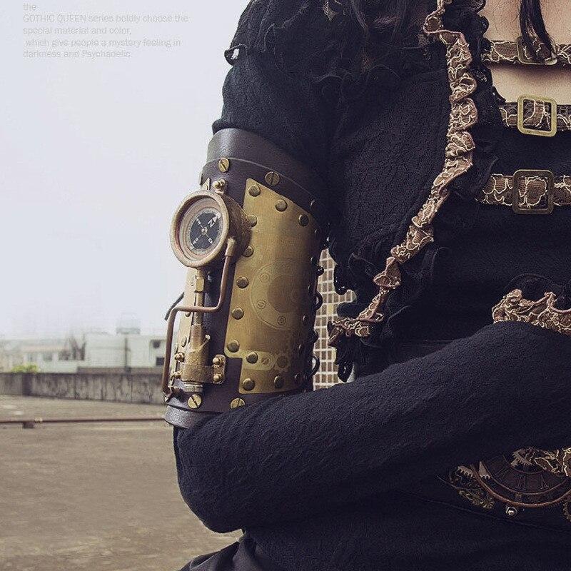 Новый стимпанк аксессуар из натуральной кожи перчатки рука браслет со светодиодной и компас костюмы на Хэллоуин Лолита Стиль распродажа!