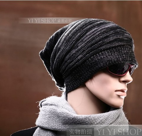 Fashion Street Hip-hop Style Men s Knitted Beanie Hats With Wrinkle Design  Russian Winter 2014 Knitting Wool Caps In Patch-color e470df6eb0a