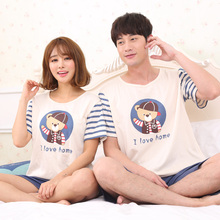 Couple Pajamas Set Summer Cute Cartoon Pyjama Short Sleeve Sleepwear 100% cotton Pijama Male And Female Home Clothing
