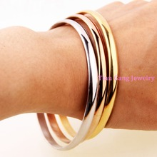 3pcs/set New 316L Stainless Steel Silver/Gold/Rose Gold 5.5mm Round Bangles Bracelet Women Ladies Jewelry 2.67″ inner size