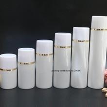 50 мл Белый пластмассовая Вакуумная бутылка Золотая линия Белый/прозрачная крышка для лосьона/эмульсии/тональный крем/анти-УФ солнцезащитный крем упаковка кожи