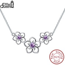 Effie Queen 100% Real Sterling Silver Necklaces For Women 3 PCS Hollowed Flowers With Top-grade Cubic Zircon Female Jewelry BN96