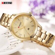 Curren Для женщин часы Роскошные модные Часы женщина часы Нержавеющаясталь простой Бизнес WRIS Часы Дамы Relogio feminino 9007