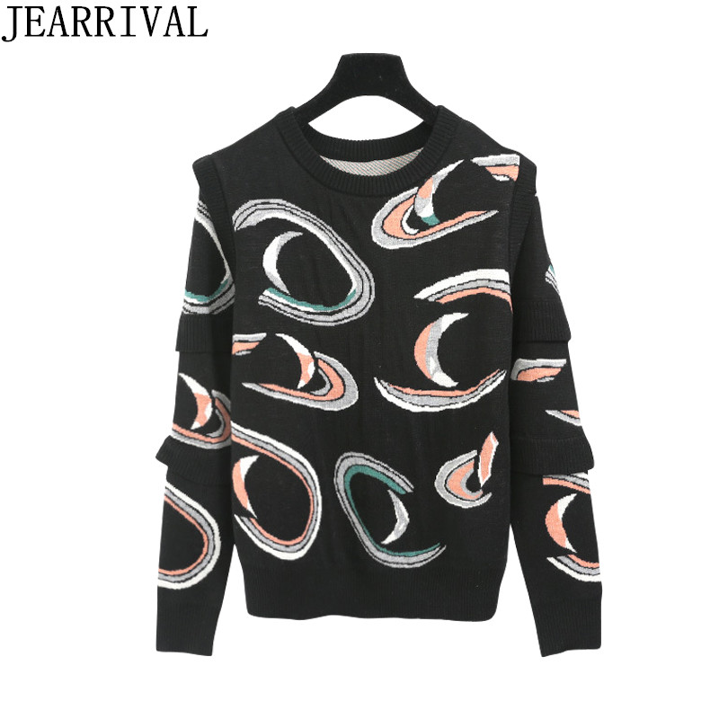 2018 New Spring Fashion Women Sweater Brand Design Ruffles Layered Long Sleeve Casual Pullover Jumper Knitted Sweater Pull Femme
