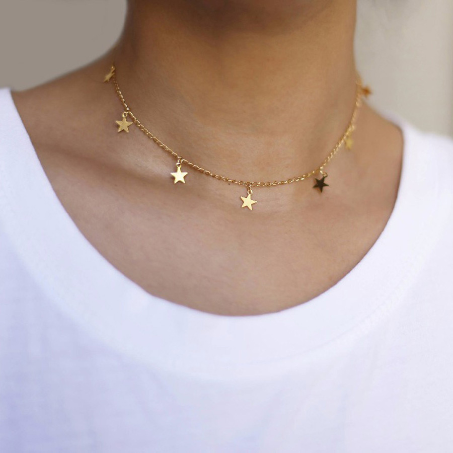 2018 New Fashion Drop 7 Star Choker Necklace Gold Star Necklace L114(China)