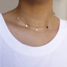 Collar con colgante de estrella, de Color dorado para fiesta de mujer... Gargantilla femenina a la moda de collares y joyería Simple