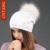 CNTANG Bonito Mulheres Arco de Malha De Lã Chapéus Gorros Com o Real Natural Pele De Guaxinim Pompom Caps Chapéu Morno do Inverno Da Forma Para feminino