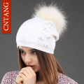 CNTANG Cute Women Knitted Bow Wool Hats Beanies With Real Natural Raccoon Fur Pompom Caps Fashion Winter Warm Hat For Female