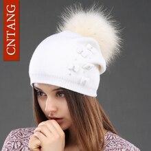 Cntang милые Для женщин трикотажные лук шерсть Шапки шапочки с натуральным енота Мех помпон шапки мода зима теплая шапка для Женский