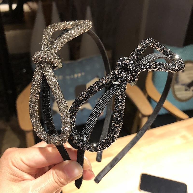Fashion Big Bow Shining Rhinestone Hairband For Women Bead Headband Knotted Hair Bows Girls Hair Accessories Headwear