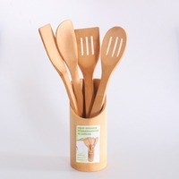 Bamboo Wooden Spatula Set Non Stick Wood Turner Cooking Utensils Pack Of 5 Cooking Serving Utensils