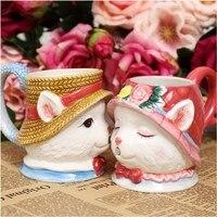 3D Chat M. Et Chat dame Mariage/Cadeaux du Jour de Valentine chaud Famille Chats Baisers Tasses Café Bière Thé Tasses Chat couple tasses