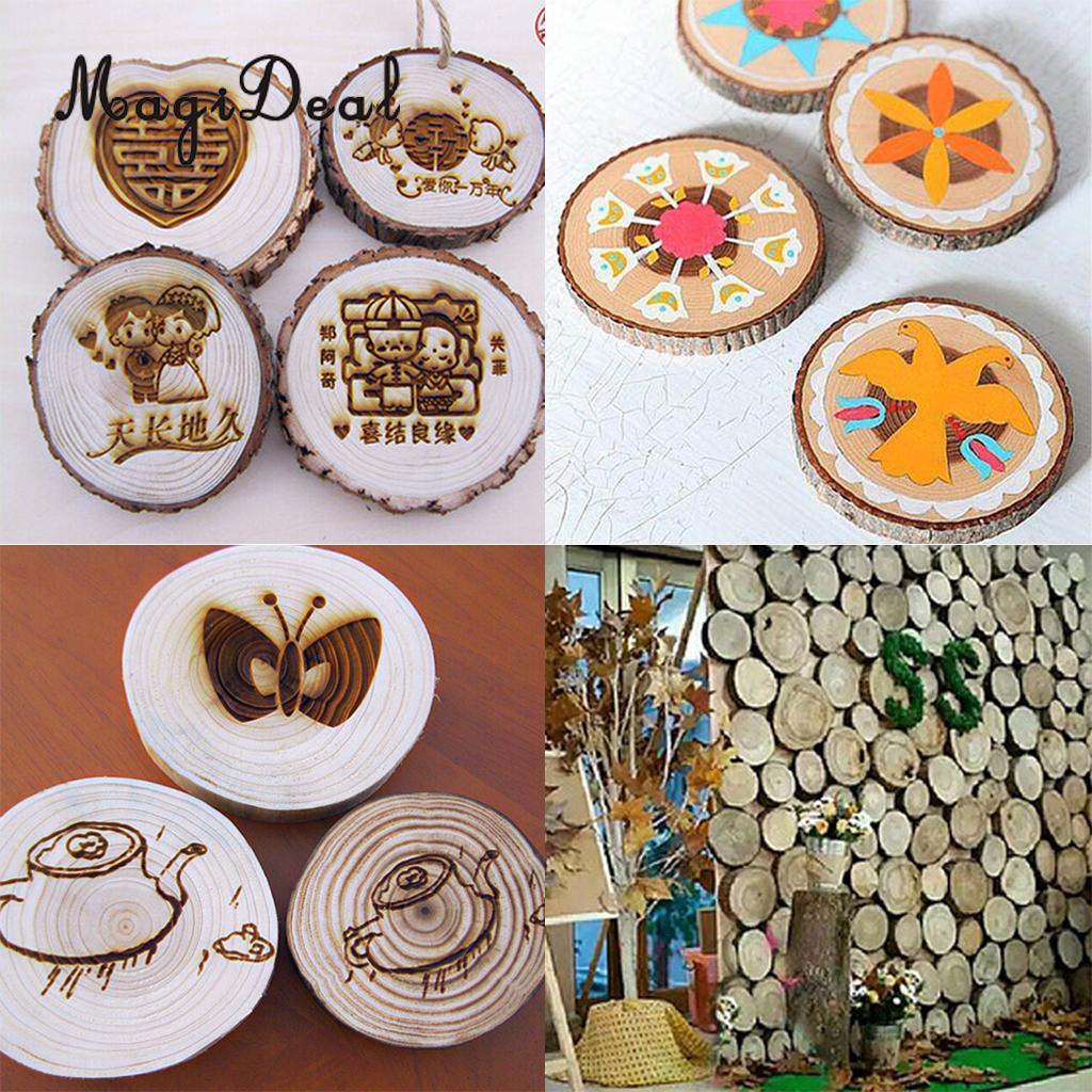 MagiDeal Handmade 20Pcs/Lot Natural Pine Tree Wood Slices for Wedding Party Christmas Home Table Numbers Signs Decor Natural