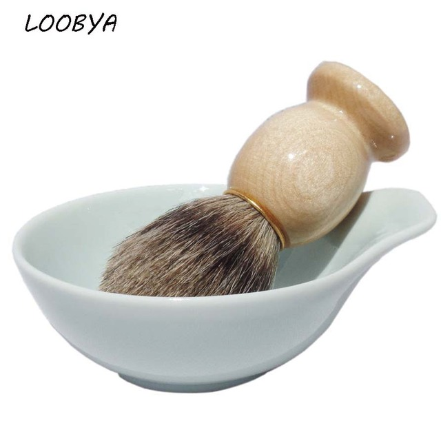 2pc/set  Badger Shaving Brush with Ceramic Beard Soap Foam Bowl Mug for Men's Beard