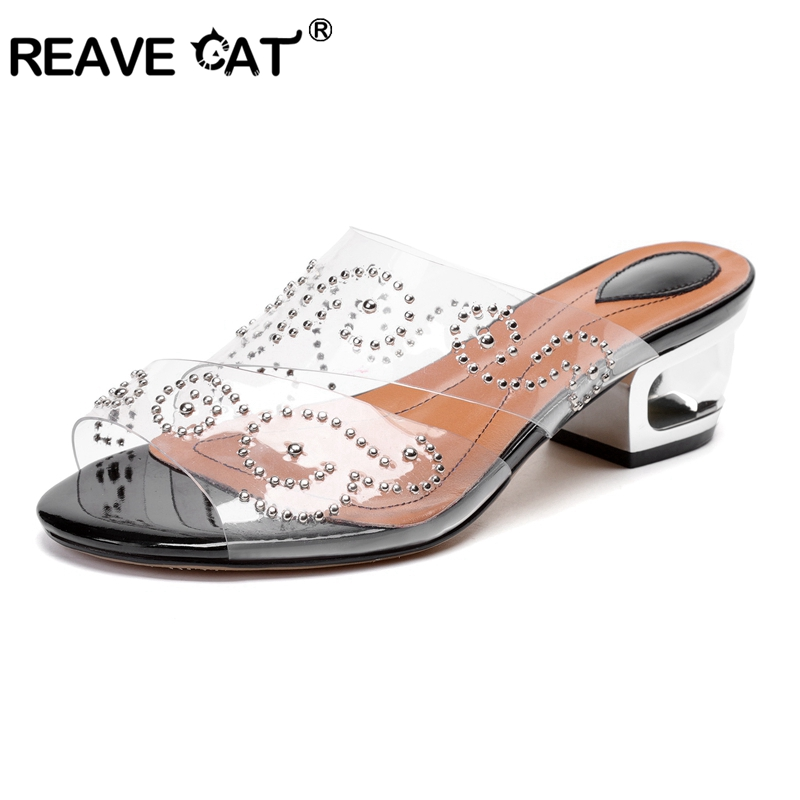 REAVE CAT 2019 New Shoes woman Middle heels Ladies sandals Mid heel slippers Transparent Black Brown