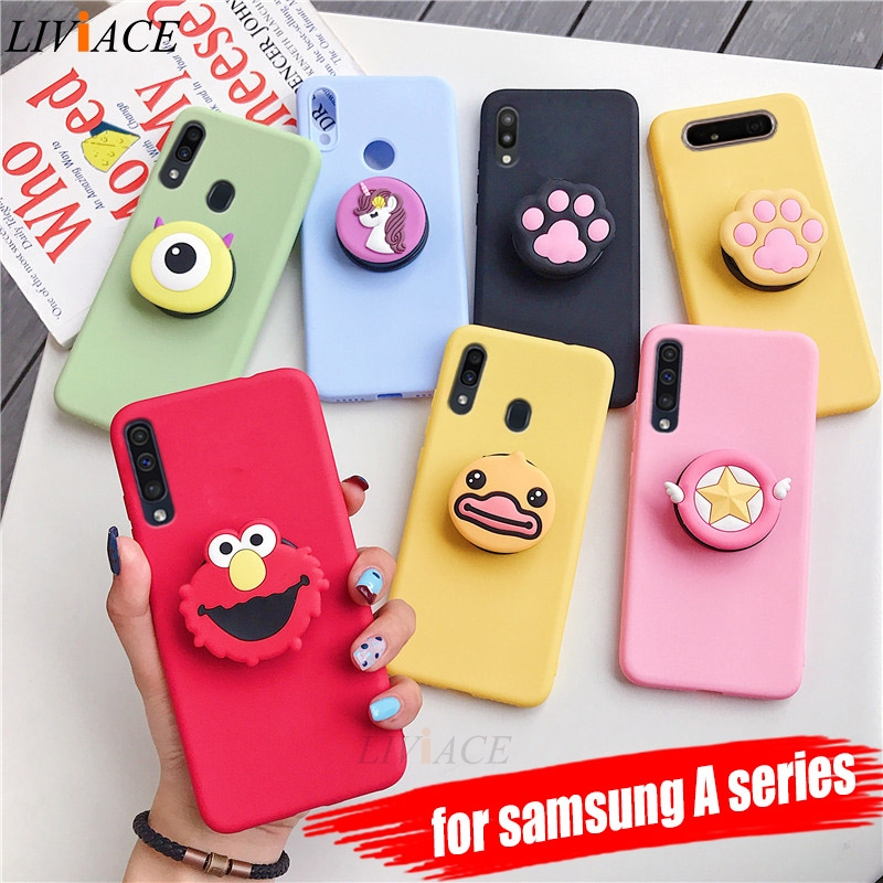 3D silicone cartoon phone holder case for samsung galaxy A50 A30 A40 A20 A10 A70 A60 A80 A7 2018 a8s cute stand soft back cover(China)