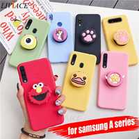 3D silicone cartoon phone holder case for samsung galaxy A50 A30 A40 A20 A10 A70 A60 A80 A7 2018 a8s cute stand soft back cover