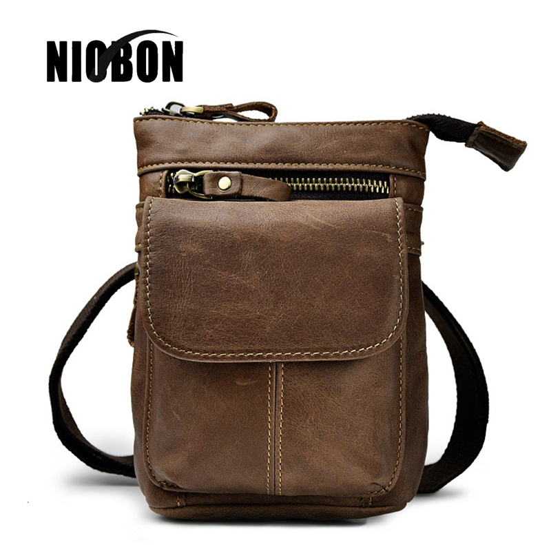 Niobon  Genuine Leather Waist Packs Fanny Pack Belt Bag Phone Pouch Bags Travel Waist Pack Male Small Waist Bag Leather Pouch brand logo new multifunctional genuine leather waist pack for men women bags travel belt bag money pouch