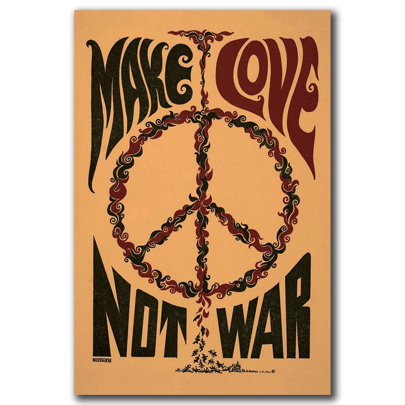 Q0757 cartazes e impressões fazer amor não guerra eua 1967 clássico quente 12x18 24x36in arte cartaz da lona pintura decoração casa